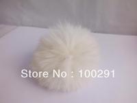 50pcs / lot Genuine Rabbit Fur Ball white color Adornment 80mm Free Shipping