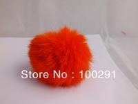 WWEL88950pcs / lot Genuine Rabbit Fur Ball  red  color Adornment 80mm //