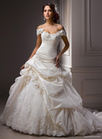 Metallic Taffeta Soft Shimmer Lace Appliques Satin Detachable Cap-sleeve Shoulder Ball Gown Wedding Dress
