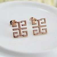 High Quality 14K Rose Gold Plated Titanium Steel Earrings Designer For Pierced Ears Free Shipping