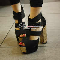Fashion popular cross-strap paillette thick heel platform sandals black