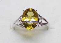 Free shipping Natural citrine ring with 925 silver plated 18k white gold 1pc yellow gem Wholesale #2013083012