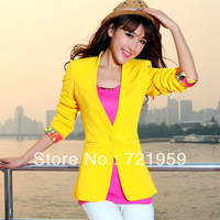 Free  shipping 2013 Hitz long-sleeved long section of small white suit Korean version of Slim small suit jacket women