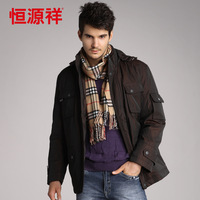 Free shipping  medium-long down coat male commercial thermal outerwear 9273
