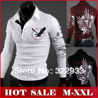 Hot Sale New Men's clothing eagle printed long sleeve unlined upper garment of cotton turn-down collar polo T-shirt plus size