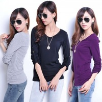 Hot sale! Free shipment autumn t-shirt brief V-neck decoration slim women's long-sleeve t-shirt 6 colors