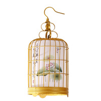 New chinese style classical pendant light gold bird cage traditional chinese painting lamps balcony lighting