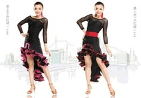 Luxury women Tango dance dress set (Semipermeable top+Spiral skirt) New Arrival lady Latin Modern perform outfit Mix color&size