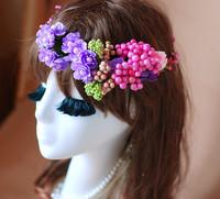 1030249 FLOWER GARLAND/ARTIFCIAL GARLAND/FAKE FLOWER/HAIR BRIDAL/GIRL GARLAND/VALENTINE'S DAYS WREATHS/GRADUATION PARTY WREATH