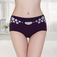 Women's panties mid waist 100% cotton female butt-lifting Size fits all summer fresh briefs breathable beads 1038