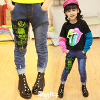 Children's clothing female child baby 2013 autumn skull jeans skinny pants trousers k606