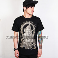 Lucky elephant god t-shirt black short-sleeve tee four sides buddha