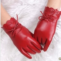 Women's sheepskin gloves autumn and winter thin butterfly thermal women's genuine leather gloves