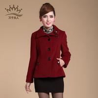 2013 short design woolen outerwear middle-age women sheep trophonema wool coat
