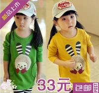 Children's clothing female child 2013 autumn and winter child rabbit 100% cotton long-sleeve T-shirt child basic shirt