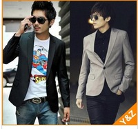2013 Fashion Stylish Black/Gray Mens Casual slim fit Blazer Business Formal Suit jacket for men, China Size: S-3XL,K01