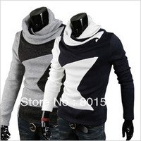 KINGTIME Freeshipping Fashion New Pile collar oblique zipper design  Male's Long-sleeved Sweater  Asian Size:M-XXL KTA163
