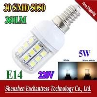 FreeShipping 60PCS/LOT E14  5W 220V 5050 SMD 30 LED Light Bulb White / Warm White Corn Light spotlight LED Lamp bulbs With Cover