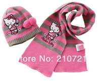Retail Girls Christmas Gift Fashion scarves Child hello kitty hats/caps knitting with Scarf 2-pcs set