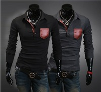 2013 new Mens Long Sleeve T Shirt slim fit ,  Fashion T-shirts red leather bags design for men free shipping ZF616