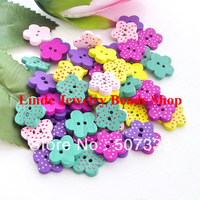 Free Shipping 200pcs/lot wood button beads flower shape 14mm suit for jewelry making, garment button decoration BT019