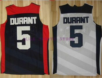 Free Ship USA Olympic Basketball Jersey #10 Kevin Durant Blue white London 2012 Olympics USA Dream Team Size:S-XXXL Can Mix