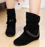 free shippingCasual 2013 autumn single shoes velvet chain elevator decoration boots casual boots