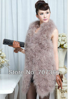 Big Size XXXL New Female Women Ladies Thick Long  Natrual Genuine Orschich Feather Knitted Fur Vest Wholesale  Gilet/waistcoat