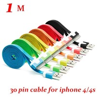 200pcs/lot* 3Ft /1M* 30PIN Noodle Flat USB Sync Data & Charger Cable Colorful noodles Cable For iphone 4S 4  for ipad  2 3