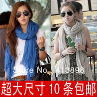 2013 spring and autumn winter female pleated scarf cape ultralarge ultra long paragraph dual silk scarf hotselling freeshipping
