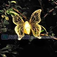 Free shipping!NEW 2*Solar Powered Butterfly Garden Stake Light 3 Color Changing LED light Free Shipping
