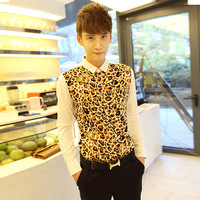 2013 autumn men's clothing slim fashion peaked collar shirt male long-sleeve casual male shirt leopard print
