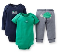 Wholesale 2013 new carter's 3 piece baby girl short sleeve & long sleeve body suit + pants set.,carters baby clothing 5sets/lot