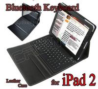 New PU Leather Wireless Bluetooth keyboard case for ipad 2 ipad 3 Free Ship