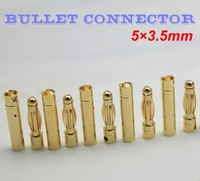 Free shipping!200pcs 100pairs 3.5mm Gold Bullet Connector plug for RC battery