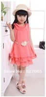 2013 chiffon skirt princess dress female child one-piece dress big boy dress skirt
