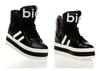 Hot Sales Korean Fashion Black PU women flat-bottomed platform shoes 2013 spring and autumn fashion sports shoes