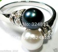 Noir et blanc bague perle shell Size: 7-9#