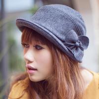 Women's dome small roll-up hem hat autumn and winter woolen hat flower fashion wool felt hat