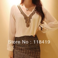 2013 new hot Women's fashion vintage pearl V-neck loose double layer chiffon all-match shirt one-piece dress black white 8035