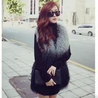 2014 women's fur gradient color  wool personalized faux vest outerwear coats for costume coats jackets warm size waistcoat