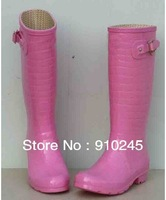 free shipping,2013 boots buckle luxury Alligator Pattern,women wellies,rain boots,woman water shoes,pink black