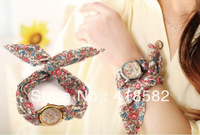 NWSB022-- NEW fashiON Casual Wristwatches Women watches Flower Cloth Fabric Handkerchief Fashion watches