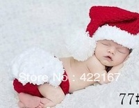 Free shipping  Handmade Photography Props Crochet Newborn baby christmas hat  and shorts baby photography props christmas gift
