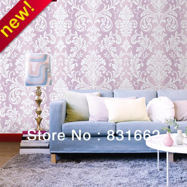 Free Shipping Nonwoven Foaming Glitter Damask Bedroom Wallpaper Living Room