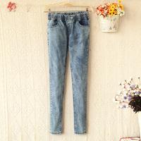 E3372-2013 women's rivet decoration elastic waist slim denim trousers 0819