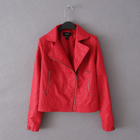 Women's slim oblique zipper motorcycle turn-down collar long-sleeve small leather clothing outerwear red jacket