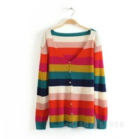 New Spring And Autumn Trendy V-Neck Rainbow Striped Long-Sleeved Knit Cardigan WF-49500
