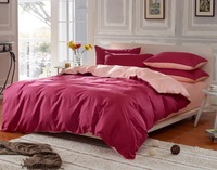 Solid color bedding rustic solid color bed sheet duvet cover plain cotton 100% double piece set