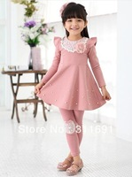 2013 NEW girls solid dress girl's flower dress children princess free shipping children clothing girl's spring/autumn wear